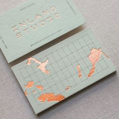 The copper foil and pistachio paper stock letterpress business card. Graphic Design Branding, Stationery Design, Corporate Design, Identity Design, Business Design, Logo Design, Brand Identity, Business Card Interior Design, Business Travel