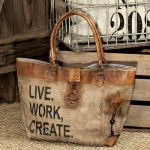 Faux leather tote bags feature quality hardware, distressed stamping, frayed fabric edging and vintage tones. Canvas Leather, Leather Bag, Soft Leather, Waxed Canvas, My Bags, Purses And Bags, Do It Yourself Fashion, Boho Bags, Shopper