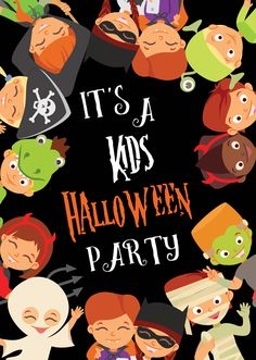"""Calling all goblins and ghouls. These kids Halloween party invitations feature a fun graphic of costumed children and are custom printed with your party details.  Less work for you so you can get back to party planning. The front comes automatically printed with the phrase """"It's a Kids Halloween Party"""" and features kids dressed as pirates, mummies, ghosts, and more. Have up to 11 lines of text printed on the back. To order, visit http://www.tippytoad.com/kids-halloween-party-invitations.asp"""