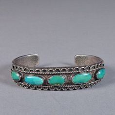 silver and turquoise five stone bracelet c 1940
