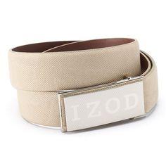 Men's IZOD Logo Plaque Golf Belt, Size: 38, Beig/Green (Beig/Khaki)