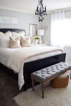 White Bedroom with Dark Furniture Fresh Design Ideas for Bedroom Furniture Interior Decorating White Bedroom Dark Furniture, White Bedroom Decor, Black Furniture, Bedroom Furniture Sets, Bed Furniture, Bedroom Colors, Bedroom Ideas, Furniture Ideas, Furniture Design