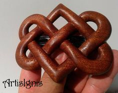 Two Hearts Celtic Knot Hair Barrette in Mahogany Wood