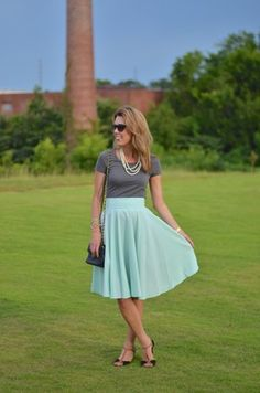Green High Waist Pleated Skirt