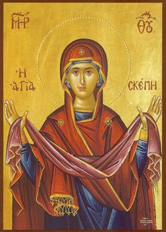 "Orthodox icon of Theotokos ""Holy Protection"", ""Agia Skepi"" –… Religious Icons, Religious Art, Greek Icons, Archangel Raphael, Raphael Angel, Russian Icons, Blessed Mother Mary, Byzantine Icons, Holy Mary"