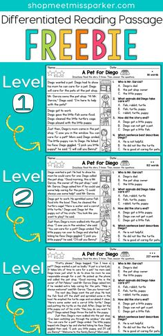 FREE Differentiated Reading Passage for first grade, This free reading comprehension passage can be used for reading interventions, literacy centers, homework, and guided reading groups in your grade classroom! Reading Comprehension Passages, Comprehension Activities, Reading Fluency, Reading Intervention, Teaching Reading, Free Reading, Teaching Ideas, Learning, Comprehension Questions