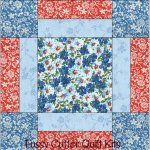 Turquoise Blue Red Floral Fabric Easy Pre-Cut Quilt Blocks Kit