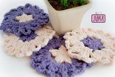 Crochet Purple Coasters Peach Coasters Set of by NiftyMumzyStudios
