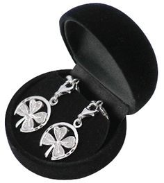 Four leaf clover and horseshoe earrings - could they be any more lucky? In sterling silver - online at http://silverandgold.com/bg900832ea.html