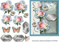 This 3D decoupage 6x7 card front is so easy to make, and comes with 3 labels. Thinking of you, Get Well Soon and Happy Birthday. But of course you can use your own, so it can be used for many reasons. It has beautiful pink roses and optional butterflies, for you to add anywhere.
