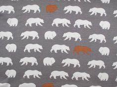 Bear Hike Organic Cotton Jersey - Shroom dress fabric