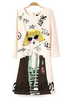 Personalized Graffiti 3/4 Sleeve Chiffon Dress