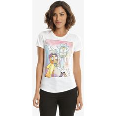Rick And Morty Open Eyes Womens Tee ($29) ❤ liked on Polyvore featuring tops, t-shirts, tees, women, travel t shirt, crew-neck tee, crewneck tee, crew neck tee and white top