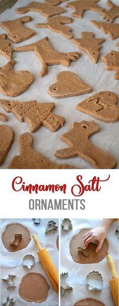 Cinnamon Salt Ornaments // A great craft for kids! Salt Dough Christmas Ornaments, Cinnamon Ornaments, Homemade Ornaments, Homemade Christmas Gifts, Christmas Crafts For Kids, Homemade Gifts, Christmas Fun, Diy Ornaments, Kids Crafts