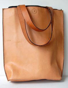 Zip Top Tan Leather Tote Bag-SR