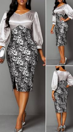Lantern Sleeve Side Slit Back Zipper Sheath Dress HOT SALES beautiful dres… – Christmas Fashion Trends Long African Dresses, Latest African Fashion Dresses, Ankara Fashion, Chic Dress, Classy Dress, Cute Dress Outfits, Lace Dress Styles, African Traditional Dresses, African Attire