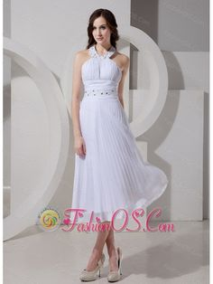 Halter Top Neckline Beaded Decorate Waist Tea-length White 2013 Chic Prom Gowns- $138.79  http://www.facebook.com/quinceaneradress.fashionos.us  http://www.fashionos.com  | customize wedding dress | white dress for outdoor wedding | wedding gown with beading | empire wedding dress | free shipping bridal wedding gown | beautiful wedding gowns for garden wedding | chiffon bridal gown |