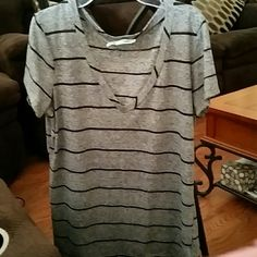 Maurices v neck tee xl Gray w black strips Very good condition no holes / stains Tops Tees - Short Sleeve