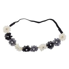 Lux Accessories Black Ivory Grey Crystal Stone Floral Elastic Headwrap Headband ** Read more reviews of the product by visiting the link on the image.(This is an Amazon affiliate link and I receive a commission for the sales)