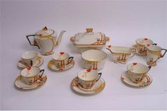A rare Art Deco Burleigh Ware 'Pan' pattern teaset in tn the orange colourway, comprising six cup Oct 2016, The Saleroom, Coffee Set, Milk Jug, Antique Items, Teapots, Sugar Bowl, Tea Set, Cup And Saucer