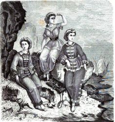 1864.  La Mode Illustree.  Bathing costumes without the obscuring skirt!