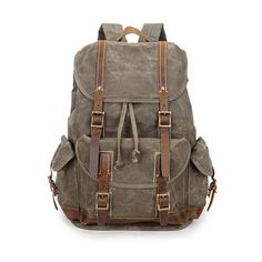 30c70075b9 Vintage Oil Waxed Canvas Waterproof Leather Laptop Backpack