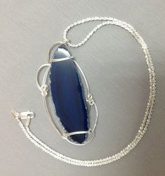 Natural  blue agate  sterling silver wire by OritWhiteLight