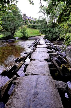 The Tarr Steps, a prehistoric clapper bridge across the River Barle in the Exmoor National Park, Somerset