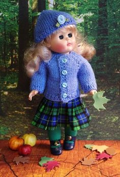 """~AuTuMN RaiN~...a sweet hand knit sweater, hat, and pleated plaid skirt clothing set for your Modern Ginny 8"""" doll. Fits her and Madame Alexander 8"""" dolls from the year 2000 up. Not for vintage Ginny, but new and gorgeous and at my ebay karmel*apples now. If you have Modern Ginnys you know how hard it is to find clothes that fit right. This is for her! Please check out my facebook page Karmel Apples Doll Clothes too..."""