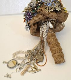 CUSTOM Wedding DIFFERENT HANDLES Vintage Brooch Bouquet - to fit your style, budget & colors, vintage bridal bouquet. $400.00, via Etsy.