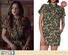 Aria's camo shirtdress on Pretty Little Liars.  Outfit Details: http://wornontv.net/35590/ #PLL