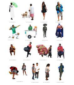 FUNNY // Escalalatina: 2d people cutout for the emergent renderings, very funny parody of Skalgulbbar nordic hipsters - Gente 2D de Mexico, parodiando a unos cutouts hechos por los nordicos Skalgubbar