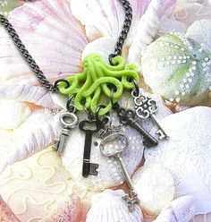 Octopus Charm Necklace Lime Green Antique Style Keys Matte Black Patina Silver Chartreuse Lime Green Squid Ocean Sea Animals <3
