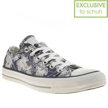 Navy & Silver Converse All Star Tropical Flower