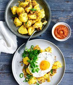 Gourmet Traveller - Indian-spiced potato, fried egg and kasundi recipe