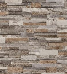 Brick Effect Wallpaper Slate Stone Wall Textured Vinyl Brown Grey Beige