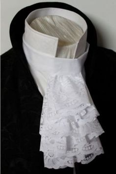 Jabot-Victorian-Regency-Ascot-Tie-Cravat-Historic-Fashion-Cascading-White-Lace