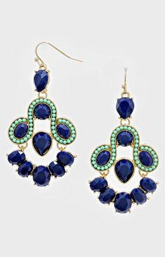 Athena Earrings in Navy