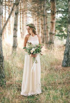 Elegante boho longo vestido de noiva 2016 simples o pescoço branco de praia vestido de casamento das mulheres vestidos para festa vestido de noiva vestido de noiva casar