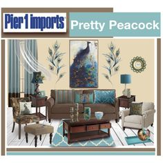 Pier 1 Imports Pretty Peacock by truthjc on Polyvore featuring polyvore, interior, interiors, interior design, home, home decor, interior decorating, Pier 1 Imports, Lush Décor and stylist