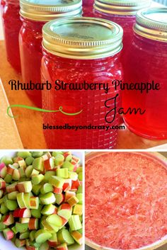 How to make homemade Rhubarb Strawberry Pineapple Jam!! Plus, it's naturally gluten free! My kids LOVE this stuff and they all fight over who gets the last jar. No joke!