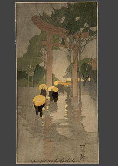 Temple Gate by Bertha Lum Art And Illustration, Illustrations, Japanese Prints, Japanese Art, Japanese Woodcut, Japan Painting, Diy Painting, Art Chinois, Rain Art
