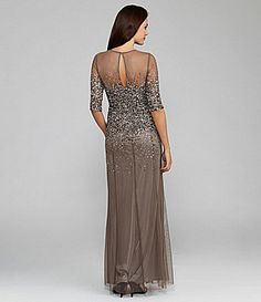 Adrianna Papell Beaded SheerSleeve Gown #Dillards