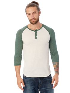 Our signature 3/4 Sleeve Raglan Henley is the perfect update to the baseball tee.