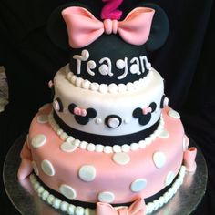 Minnie mouse cake made for a little girls 2nd birthday!!! First thing she did was eat the ears.