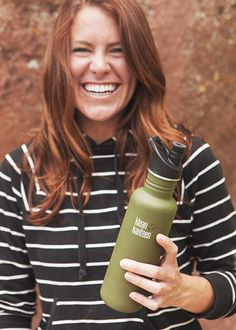 Classic 27oz by Klean Kanteen $20.95 http://www.kleankanteen.com/collections/bottles/products/single-wall-classic-27oz?variant=1604622339 Found at Whole Foods  Why is it Eco-Friendly?     The Klean Kanteen is made with toxin-free materials and have a stainless steel interior. The Sport Cap on the kanteen is made with sustainably-harvested bamboo, food-grade silicone, and stainless steel. No paint or plastic is used.