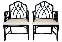 Painted Faux-Bamboo Armchairs, Pair on OneKingsLane.com very sturdy & comfortable 1940s $995 - SOLD