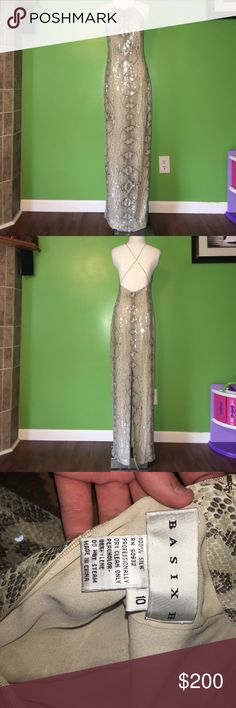 100% Silk Basix II Gown - Quick Sale! 100% Silk Worn once - Size 10 - Included close up picture of design. Basix II Dresses Prom