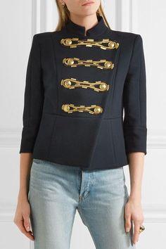 Pierre Balmain - Embroidered Cotton-twill Jacket - Navy - FR42