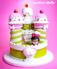 Such a cute ice cream themed cake Pretty Cakes, Beautiful Cakes, Amazing Cakes, Cupcakes, Cupcake Cakes, Fondant Cake Designs, Fondant Cakes, Cake Pops, Deco Cupcake
